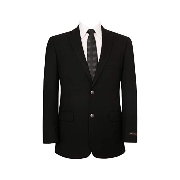 Pio Lorenzo Men's Classic Fit 2 Button Blazer Suit Separate Jacket, Black, 36 Short