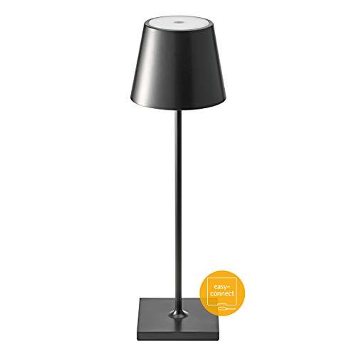 SIGOR dimmbare LED-Akku-Tischlampe für den Garten, Terrasse, Balkon - 9 Stunden Laufzeit ohne Kabel Nuindie, schwarz