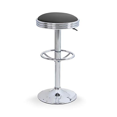 ALPHAHOME Swivel Bar Stool Round Counter Height Stool PU Leather Adjustable Bar Chair Pub Stool with Chrome Footrest (Black, 1 pc)