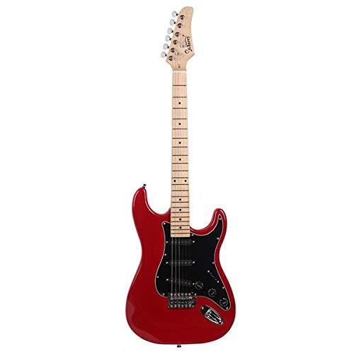 SISHUINIANHUA Glarry GST Elegante Kit de Guitarra eléctrica con el golpeador Negro Rojo