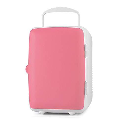 Mini 4L draagbare koel- en warmtebox, voor auto, thuis, kantoor, outdoor, picknick, reizen, blauw, groen, roze, wit roze