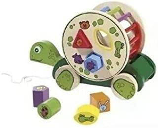 Wooden Pull-Along Turtle with Removable Game Drum - Playtive Junior Europe (Green)