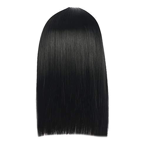 Perruque Femme Naturelle Court Straight SynthéTiques Perruques Cheveux SéParation Du Centre Pas Cher Wig Sexy Mode Chic Postiches (Noir)