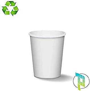 Palucart - 100 Vasos de Papel para café, 180 ml, Color Blanco, biodegradables