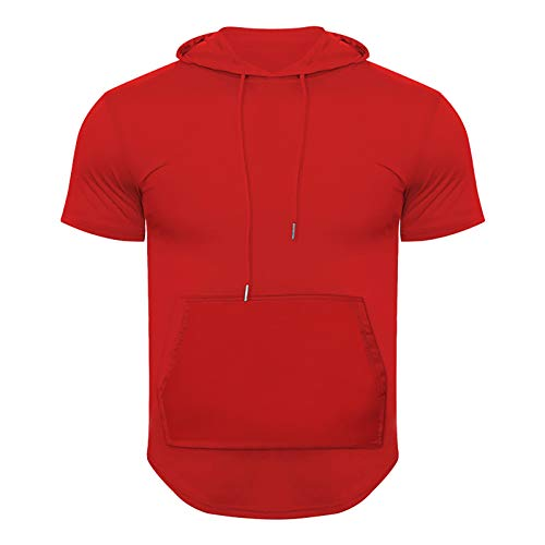 Hooded Short Sleeve Shirts for Men Tracksuit 2 Piece Set Outfit Workout Gym Muscle Cut Off Short Sleeves T-Shirt Set Red