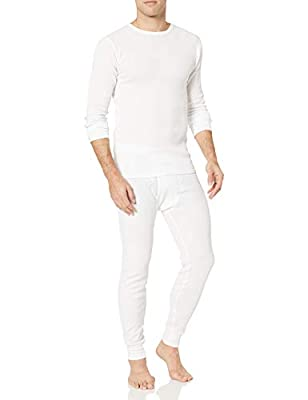 Amazon Essentials Men's Thermal Long Underwear Set, White, Medium