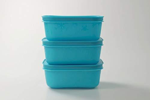 Tupperware Gefrier-Behälter 450 ml (3) türkis flach EIS-Kristall Eiskristall