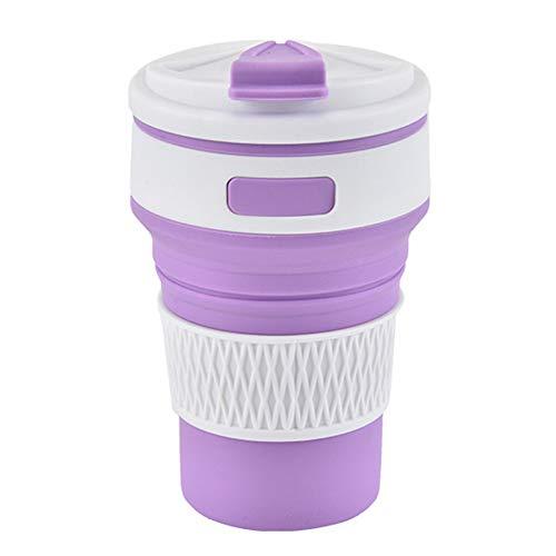 Ancdream Taza de Silicona Plegable, Taza de Viaje Plegable retráctil, Taza Ligera de 350 ml con Mayor Capacidad para Acampar al Aire Libre (Purple)