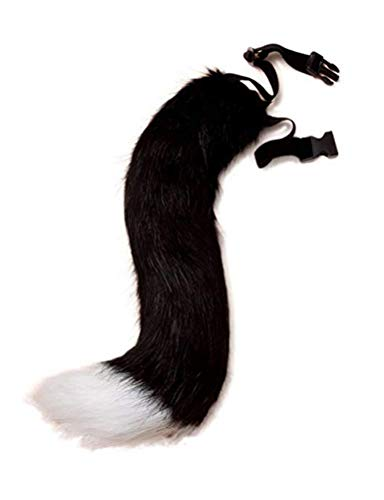 Fox Tail Clip Cat Ears Wolf Paws Gloves Cosplay Costume Halloween Fancy Party Costume Accessories (1-BlackWhite, onesize)