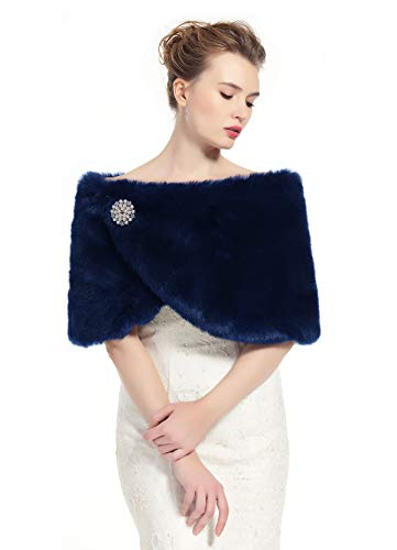 BEAUTELICATE Faux Fur Wrap Shawl Women's Shrug Bridal Stole for Winter Wedding Party Free Brooch (12 Colors) Navy Blue