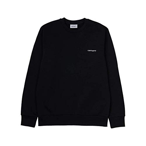 Carhartt I027678 Script Embroidery Sweat Felpa Uomo Girocollo Ricamata Black Nero (XL)
