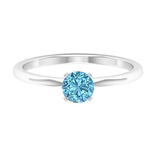 Anillo de compromiso moderno, anillo de boda, D-VSSI 1/2 CT 5 mm forma redonda aguamarina anillo, solitario anillo de piedras preciosas, regalo de aniversario para ella, 14K Oro blanco, Size:EU 57