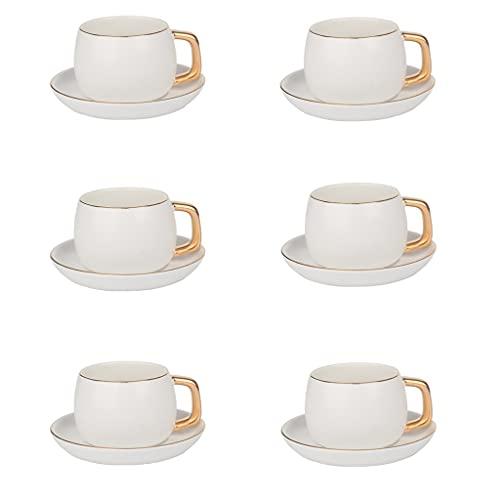 Taza de Latte Art Juego de té de taza de té inglesa Conjunto de taza de café de cerámica y platillo Conjunto de 6, taza y plato con juego de taza de té porcelana de soporte de aves, mejor regalo para