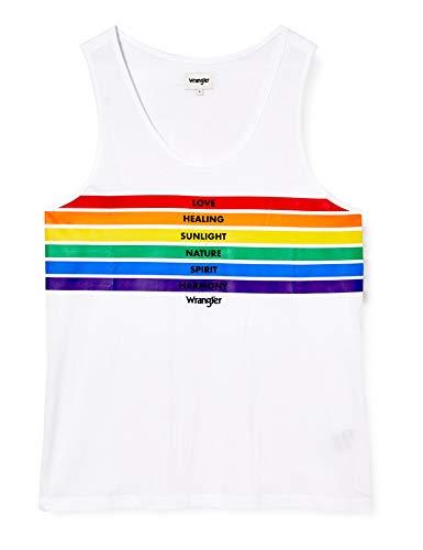 Wrangler Pride Tank T-Shirt, Bianca, XL Uomo