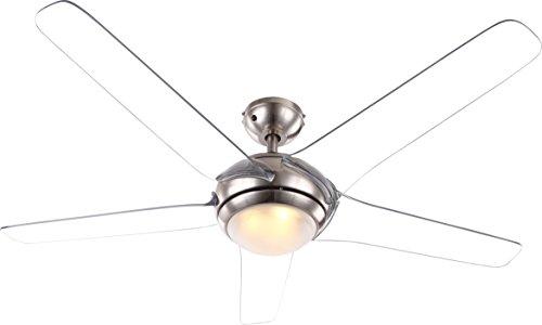 Globo 0344 Decken Ventilator mit LED 20W Beleuchtung Fernbedienung 3-Stufen Flügel transparent