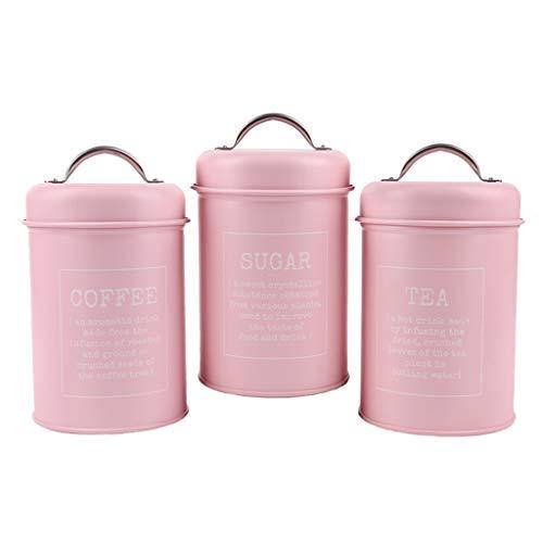 freneci 3 Pezzi Barattoli di Metallo Lattine Da Cucina Cereali Tè Caffè Zucchero Contenitore di Stoccaggio Rosa