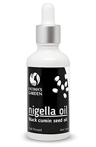 Huile de Nigelle par Fatima's Garden - Cumin Noir pour Visage, Cheveux, Corps, Ongles - Hydratante Naturelle Pressée à...