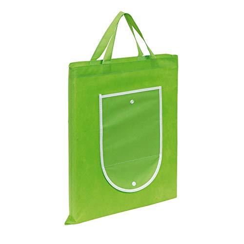 Sac cabas sac de transport Vert Lot de 10 pliable avec bouton pression Fermeture 40 x 47,5 cm réutilisable