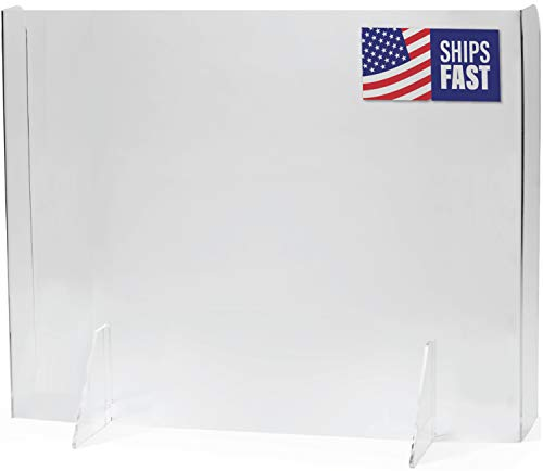 NO CUTOUT Total Coverage Sneeze Guard (Built-In Sidewalls) | USA-Made Acrylic Plexiglass Shield | Fast Shipping, 30 Second Setup | Plexiglass Barrier for Desk (Multiple Sizes)