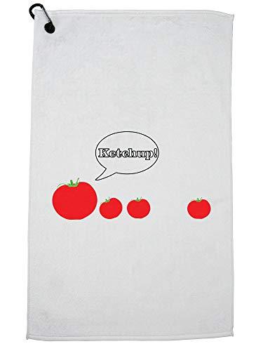 Hollywood Thread Tomaten Lopen Een Achter - Ketchup! Golf Handdoek met Karabijnhaak Clip