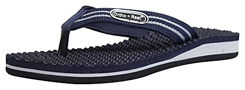 Ortho + Rest 100% Comfort Extra Soft Ortho Slippers for Men | Orthopedic Footwear | Casual Flip-Flops for Daily use (Blue, numeric_8)