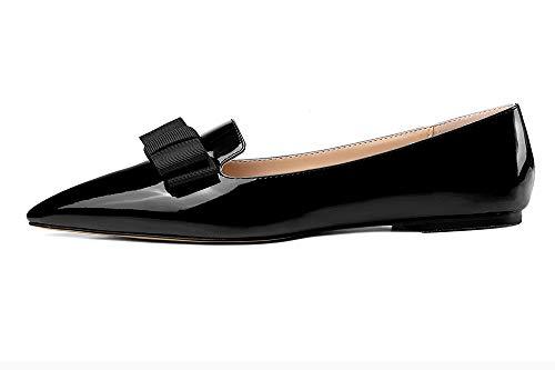 Eldof Women's Flats, Pointed Toe Flats Pumps, Patent Leather Flats Pumps, Walking Dress Office Classic Comfortable Flats Black US7