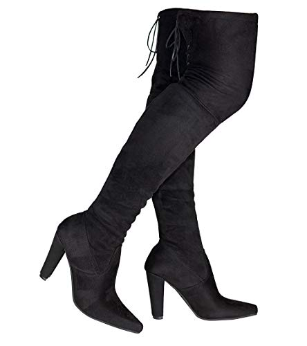 TYFLOVE Women Over The Knee Boots Fashion Suede Block Heels Shoes Sexy Lace up Thigh High Boots (Black, Numeric_10_Point_5)