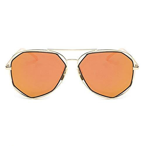 ShawnBlue , Nuevas Gafas de Sol Elegantes Gafas de Sol, Sombra Huecos poligonales, Apto for Cualquier Forma de la Cara (Size : Gold Frame Red Film)