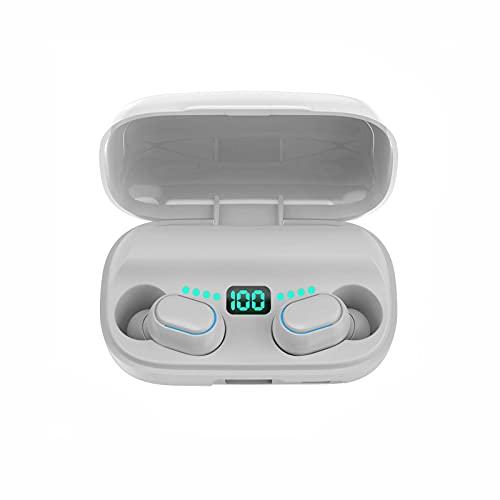 YX Verdadero AURICANTE Bluetooth INALÁMBRICO 5.0 Mini Corre DE EJECUTARIO DE INTERPORTES BINUALES DE AUTE con Pantalla Digital(Color:Blanco)
