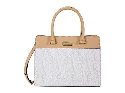 Calvin Klein Key Item Signature Triple Compartment Satchel White/Champagne One Size