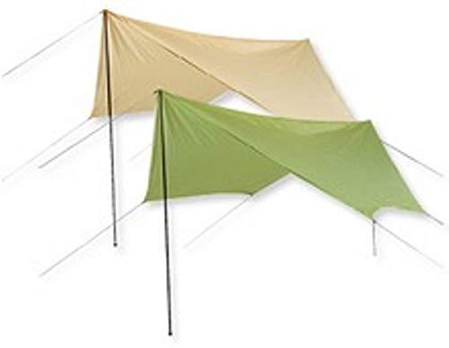Defacto Sonnensegel 430x350cm mit UV60+ Sonnenschutz Sonnendach Outdoor Markise✔Tragetasche ✔Aufstellstangen ✔Abspannleinen ✔Heringe✔ wasserdicht 200cm Wassersäule ✔Farbe:Sand&Hell Grün (HellGrün)