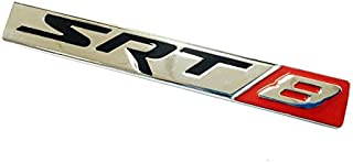 TSD 1Pcs SRT 8 Car Emblem Zinc alloy Stickers Decals Badge Labeling for Dodge Charger, Challenger Hellcat, Viper, neon, Jeep Grand Cherokee, Wrangler, Compass, Patriot (Silver,Red)