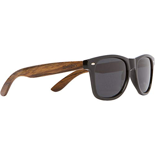WOODIES Polarized Wood Sunglasses for Men and Women | Black Polarized Lenses and Real Walnut Wooden Frame | 100% UVA/UVB Protection