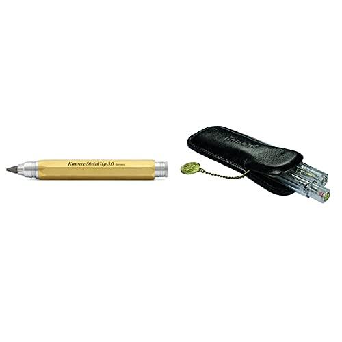 Kaweco Sketch Up Lapicero (latón, 5, 6 mm) + Classic Funda de piel para 2 bolígrafos deportivos