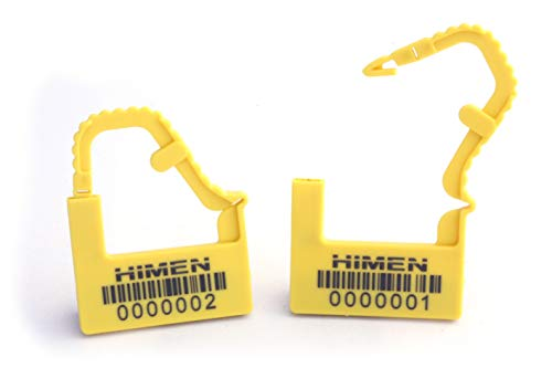 100x Veiligheidszegels van kunststof als hangslot van HIMEN | doorlopend genummerd | met streepjescode | PAL | Afdichtingen | geel