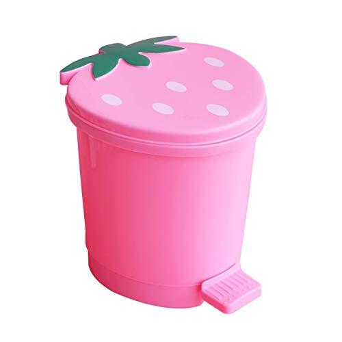 Cubo de Basura Mini Cubo de Basura de Fresa para el Coche, hogar, Dibujos Animados, Botes de Basura pequeños, Rosa, Rojo, Oficina, Mesa de Cocina, contenedor de plástico