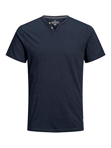 Jack & Jones JPRTREVOR BLU SS tee Split Neck-PRE Camiseta, Azul (Navy Blazerblau), S para Hombre