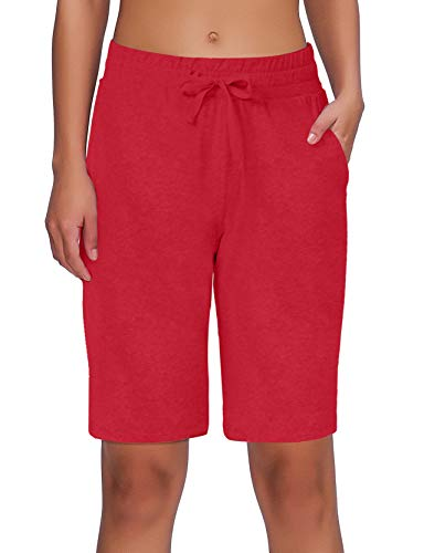 ChinFun Women's Bermuda Shorts Athletic Active Yoga Lounge Quick Dry Activewear Workout Soft Knit French Terry Sweat Running Shorts with Deep Pockets Thinner Peach Red Size XL