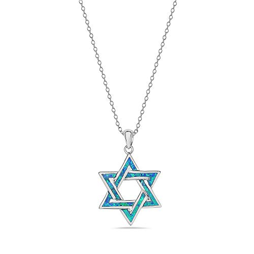 My Daily Styles 925 Sterling Silver Womens Jewish Star of David Blue Simulated Opal Turquoise-Tone Pendant Necklace (Silver)