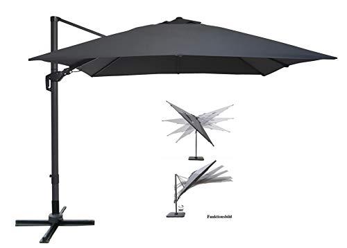Pure Home & Garden Ampelschirm Roma 300x300 cm in anthrazit inklusive Ständer, sowohl axial als auch am Mast verstellbar, UV-Schutz 50 Plus