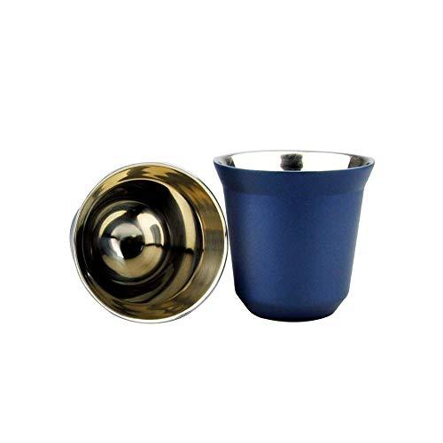 Geïsoleerd Koffiekop Roestvrijstalen Dubbel Geïsoleerde Koffiekop Capsule Cup 80 Ml Makkelijk Schoon De Vaatwasser 2 Kopjes,Blue
