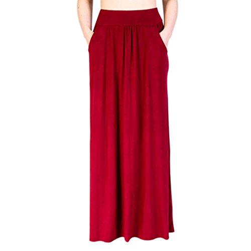 Toamen femmes jupe de couleur unie Mini-jupe à bretelles Jupe de plage d'été Robe (XL, Rouge)