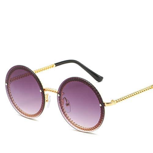 Gafas De Sol Redondas para Mujer De Marca De Lujo Gafas De Sol Sin Montura Gafas De Sol para Mujer Uv400 Goldgray