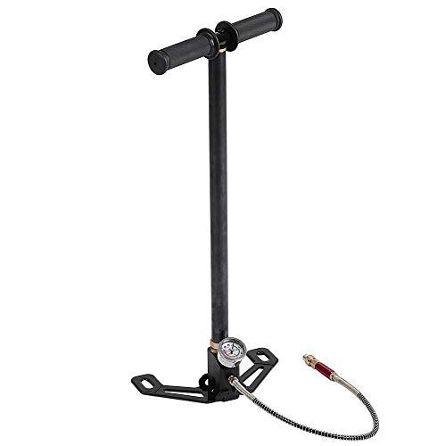 Hochdruck-Handpumpe, 0-6000psi Wolframstahl 3-stufige Handpumpe Handreifenpumpe PCP-Handpumpe für Autos/Motorräder/Fahrräder/aufblasbare Kajaks/aufblasbare Bälle, mit klappbarer Fußplatte