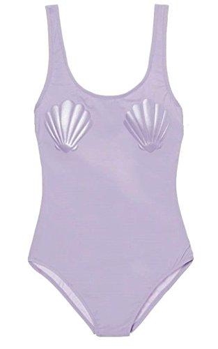 Victoria's Secret Pink High Leg One Piece Swim Suit Lavender Sea Shells Large NWT