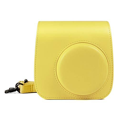 Qiulip - Funda de piel sintética para cámara Fujifilm Instax Mini 9 Mini 8 Mini 8+, color amarillo