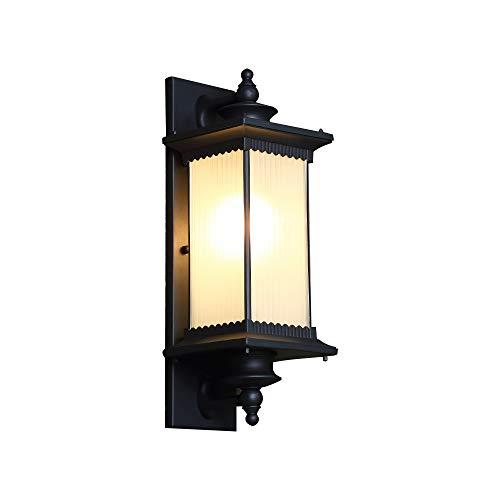 ForeverBox, FB7-62657, Chinese stijl mat zwart outdoor waterdichte wandlamp LED landschap wandlamp met gloeilamp voor veranda Yard
