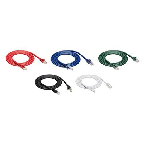 Amazon Basics Ethernetkabel Cat6, knickgeschützt, 152 cm, 5 Stück, Schwarz/rot/blau/weiß/grün
