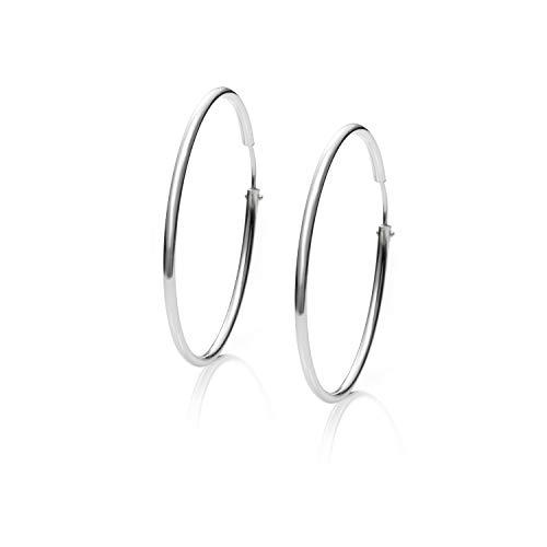 Pendientes Aros Plata Mujer de 22-25-30-40-50-55-60-70 y 80 mm. Regalos para tu Novia Originales en Plata de Ley (35 mm)