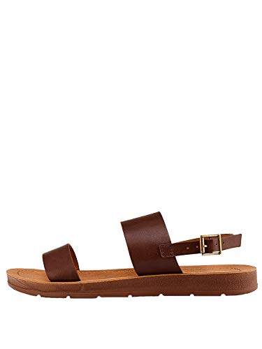Marypaz, Flache Damen-Sandalen mit Trägern und offenem Zehenbereich, Braun, Braun - braun - Größe: 36 EU